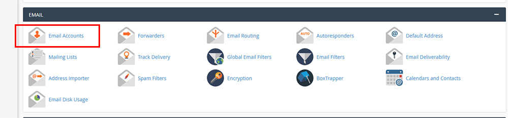 create an email account in cPanel